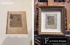 This 15th century Flemish Illuminated Manuscript shows the whole page by floating it above an archival quality mat. Each mark, crease and tear earned their way on to this piece through the course of history and is now beautifully protected, preserved and displayed for generations to enjoy.