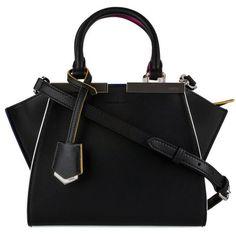 Pre-Owned Fendi Mini 3jours Tote (7.735 RON) ❤ liked on Polyvore featuring bags, handbags, tote bags, black, zip purse, kiss-lock handbags, mini tote bag, tote purses and mini purses