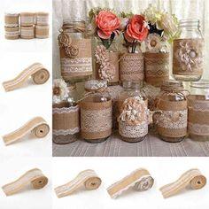 Natural Jute Burlap Roll Lace Hessian Trim Table Bands Wedding Decor Diy Crafts #weddingdecoration