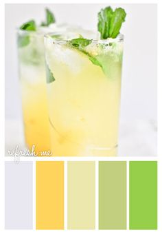 photo and color pallette fromGold On The Ceiling: Refresh me ... luv the yellow with soothing greens and pale blue ...