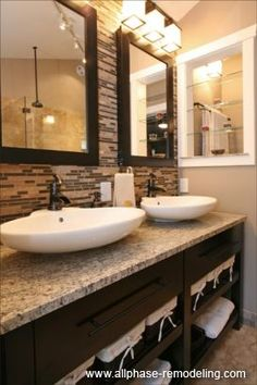 I love everything here for our master bath...backsplash, counters, cabinets, basins, lights...the whole deal!
