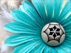 "Aqua Rockabilly Hair Flower ""Dance 'til We Drop"" by ChatterBlossom on Etsy"