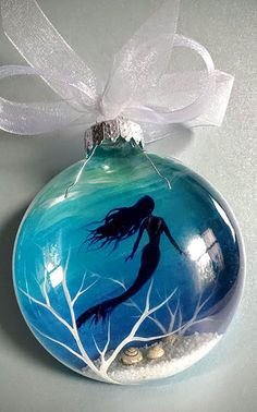 Mermaid Christmas Ornament Hand Painted Glass Blue Aquatic Nautical Holiday Gift Beachy Coastal Tree Decor Beautiful Underwater Scene Shells