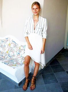 Striped shirt, flowy white skirt and strappy leather sandals