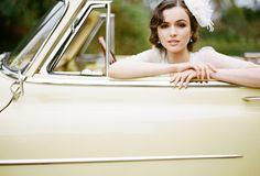 ruche bridal, classic car, lemon yellow