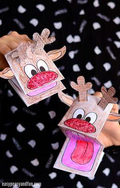 Marioneta de papel linda del reno imprimible