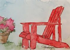 watercolors....would like to see this chair in a beach scene...