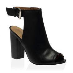 Rosie Black Heeled Peeptoe Boot