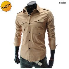 >> Click to Buy << New 2017 Autumn Winter Casual Long-sleeve shirt Men Multi-pockets Mens Leisure long-sleeve shirts Cargo Slim Army Khaki Shirt #Affiliate