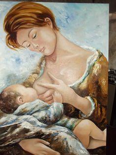 mãe amamantando,óleo sobre tela Gelda Alvarenga-Brasil