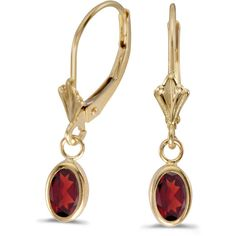 14k Yellow Gold Oval Garnet Bezel Lever-back Earrings (CM-E5009X-01) ($174) ❤ liked on Polyvore featuring jewelry, earrings, gold garnet earrings, 14k gold earrings, garnet earrings, oval earrings and 14k jewelry