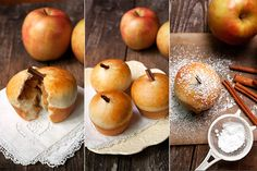 Wonderful apple-filled and apple shaped yeast buns, baked in muffin tins. Love it!
