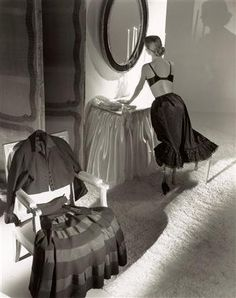 Evelyn Tripp, 1948.  Dior dress.