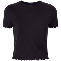 Black Ribbed Frill Edge T-Shirt (£8.84) ❤ liked on Polyvore featuring tops, t-shirts, ruffle t shirt, frilled top, ribbed t shirt, ribbed top and frill top