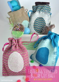 Americana Decor Chalky Finish Easter Stenciled Treat bags #yearofcelebrations