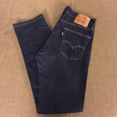 "Men's Levi's 513 Jeans Classic 513 jeans in dark wash. Bought them for my son as he was transitioning into Men's and let's say it was an epic fail on mama's part because they were tighter than skater jeans and had no stretch haha! Waist is a 30"" and length is a 32"" Levi's Jeans Straight Leg"