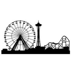 Ferris Wheel Roller Coaster and Space Needle Wall Graphics Roller Coaster Drawing, Roller Coaster Theme, Roller Coasters, Wheel Tattoo, Island Tattoo, Coaster Crafts, Vbs Themes, Vacation Bible School, Diy Presents