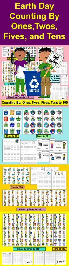 $ Earth Day Counting and Skip Counting Activities - Reinforce Earth Day Concepts while practicing counting and skip counting. 38 Page Download. Themes: Earth Day Children, Earth Day Recycling, Earth Day Symbols introduction to or review of counting and skip counting by ones, twos, fives and tens to 100.