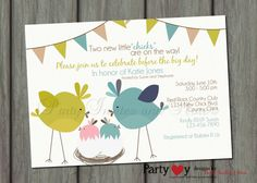 Twins Baby Shower Little Chick Printable by PartyInvitesAndMore, $10.00