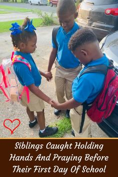 #Siblings #Caught #Holding #Hands #Praying #Before #First #Day #School Braided Hairstyles, Sport Hairstyles, Heatless Hairstyles, Holding Hands, Hands Praying, First Day School, New Years Eve Outfits, Smokey Eye Makeup, Grunge Hair