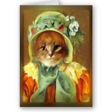 Mary Cassels cat in a bonnet