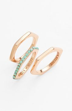 Rebecca Minkoff Stackable Rings (Set of 3) | Nordstrom $48 Love that it's not a perfect circle
