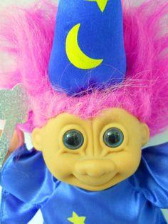 Russ Troll Doll Wizard Vntg Purple Hair Blue Robe Hat Yellow Stars Cloth Feet  #Russ #DollswithClothingAccessories