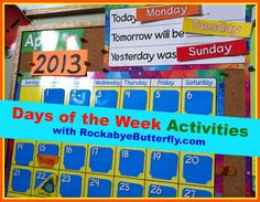 Days of the Week Activities (from Rockabye Butterfly)