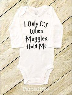 I Only Cry When Muggles Hold Me onesie, baby shower gift, Harry Potter, stranger danger Harry Potter Baby Clothes, Harry Potter Baby Shower, Harry Potter Onesie Baby, Baby Boy Outfits, Kids Outfits, Spring Outfits, Cheap Kids Clothes, Baby Shirts, Onesies