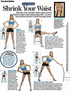 Tracy Anderson, shares how to shrink your waist. Try these exercises in addition to spin classes to see amazing results!Trainer, Tracy Anderson, shares how to shrink your waist. Try these exercises in addition to spin classes to see amazing results! Fitness Workouts, 7 Workout, Fitness Motivation, Fitness Tips, Waist Workout, Workout Exercises, Waist Exercise, Workout Routines, Fitness Gear