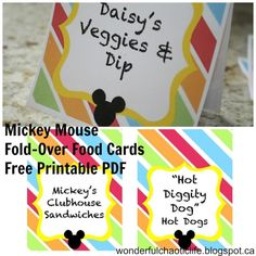 Mickey Mouse Food Cards via Mandy's Party Printables from wonderfulchaoticlife