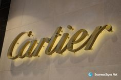 3D LED Backlit Signs With Brushed Brass Letter Shell For Cartier. If you need to custom signs like this, please click the image then fill out the form and tell us your needs now.