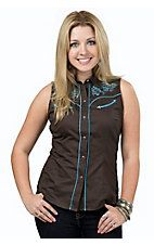 Roper Women's Brown with Blue Embroidery Sleeveless Retro Western Shirt
