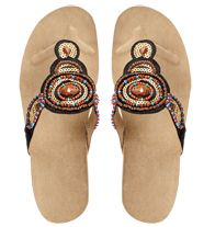 """Jeweltastic Wedge Sandal Leatherlike upper with beads and sequins. Cork-look wedge with 2"""" H heel."""
