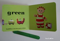 In the Night Garden - a book about colours - From P. with Love    #esl #inthenightgarden #colours #learncolours Night Garden, Garden S, Reading Time, Learning Colors, Green Stripes, Teaching English, Live Action, Esl, Coloring Books