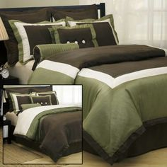 bedding sets | Annabella Fine Bedding - Olive and Brown Reversible Comforter Set for ...