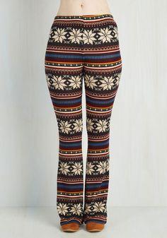 Chalet We Go Pants - Multi, Red, Yellow, Blue, Black, Grey, White, Novelty Print, Casual, Boho, Vintage Inspired, 70s, Flare / Bell Bottom, Fall, Winter, Knit, Good, High Rise, Full length, Non-Denim