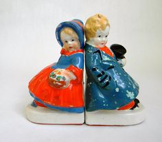 vintage Victorian bookends - porcelain boy and girl - Japan #etsy