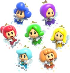 Sprixies - Super Mario 3D World (This could be just a theory of mine, but doesn't the green, red, and light blue sprixie's hair style share a remarkable resemblance to Faore, Din, and Nayru's hairstyle?)