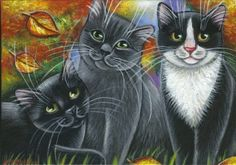 3 Kitties Fall Painting
