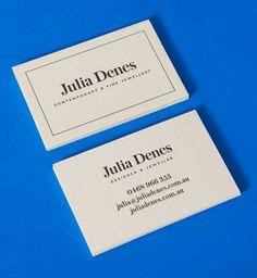 Letterpress business card for contemporary handmade jewellery designer Julia Denes by Studio Sammut.