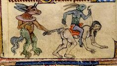 Devil-animals-man. England 1325-50. bas de page. Taymouth Hours. BL by tony harrison, via Flickr
