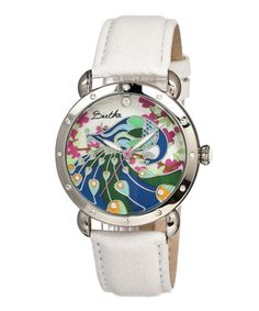 Take a look at this Silver & White Peacock Mother-of-Pearl Didi Leather-Strap Watch on zulily today!