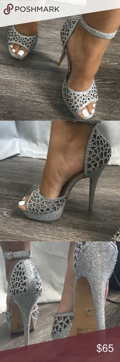 Silver sparkly heels Almost brand new silver heels bought directly from Macy's 34th st. Worn once . These are a size 7 but can fit a 7.5 Matches pink sparkly prom dress I have posted . Shoes are in more than excellent condition. Macy's Shoes Heels #promheelsstrappy