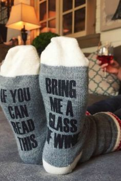 I need these funny socks! Perfect for the Holidays. Bring Me A Glass Of Wine Womens' Socks