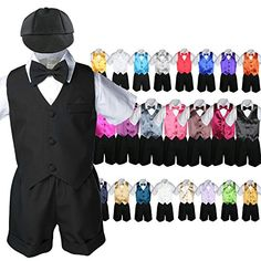 Unotux Boy Black Short Vest Set Suit Outfit Extra Coral Red Bow Tie Baby Toddler