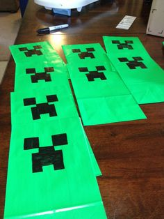 Mine craft birthday! Cheap and easy Creeper bags made great block and treat bags!