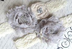 Bridal Garter Set, Garter, Vintage Inspired, Wedding Garter Belt, Garter Set, Ivory and Custom Color. $34.95, via Etsy.