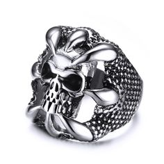 >> Click to Buy << Stainless Steel Skull Ring Skeleton Vintage Punk Rings for Men Jewelry USA Size 7 to 12 #Affiliate