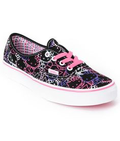 a2ed35e3e1 Hello Kitty Vans Passion Flower Pink Girls Authentic Shoe Cool Vans Shoes
